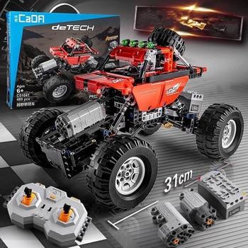 489 sztuk Building Block RC Car 4 siłą napędową pilot zdalnego sterowania 2.4 Ghz elektryczny ciężarówka kompatybilny z Legoed dzieci niespodzianka prezenty