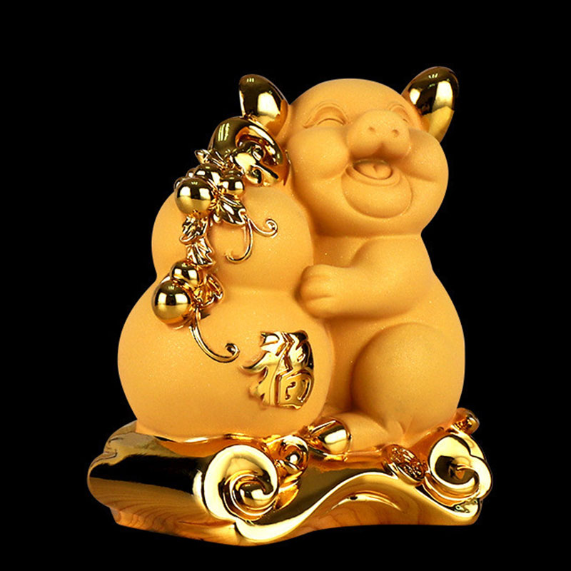 Chinese Lucky gold pig piggy bank Chinese lucky gold pig crafts Wealth Luck Feng Shui Bring Wealth Luck Home Decor Birthday Gift