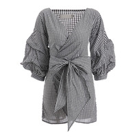 Young17 Women Casual A Line Dresses 2018 Spring Autumn Gray Plaids Bowknot High Waist Lace Up