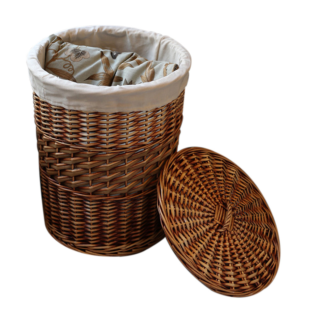 Home Storage Organization Handmade Woven Wicker Cattail Laundry Hamper Baskets With Lid Decorative Cesta In From