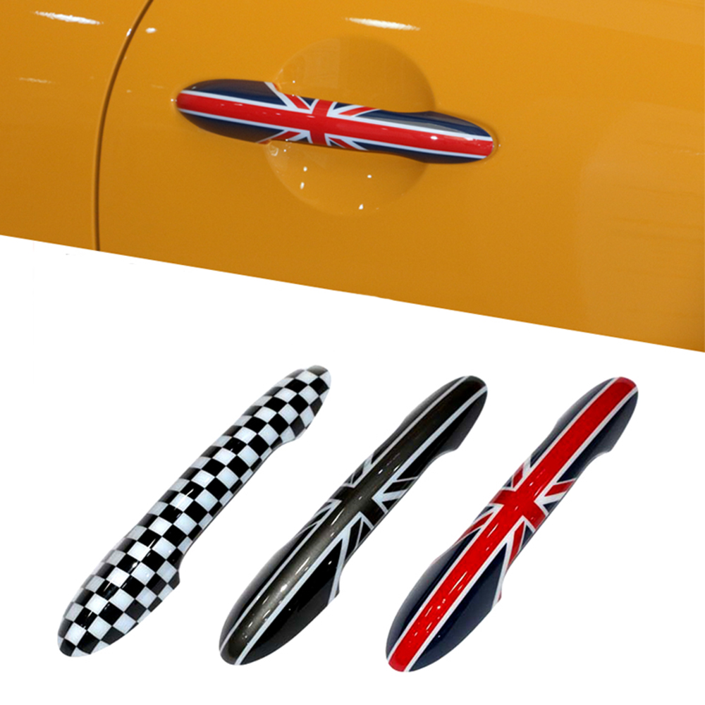 2pcs Union Jack Car Door Handle Shell Protected Cover Sticker Decal For BMW Mini Cooper JCW One F56 F57 Car Styling Accessories 2pcs set union jack rear trunk door handle covers decoration sticker for mini cooper jcw f54 clubman car styling accessories