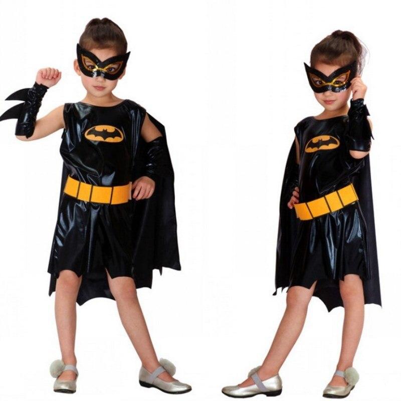 Free Shipping Kids Batman Costumes Halloween Carnival Masquerade Super Hero Batgirl Cosplay Clothes Children Girls Fancy Dress