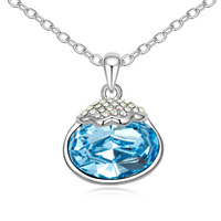 Hot Sale Oval Pendant Necklaces DIY Crystal Collares Made With Swarovski Elements Kpop Bijoux Femme Party