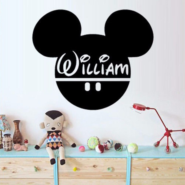 Wandtattoo Benutzerdefinierte Baby Name Kopf Mäuse Ohren Mickey ...