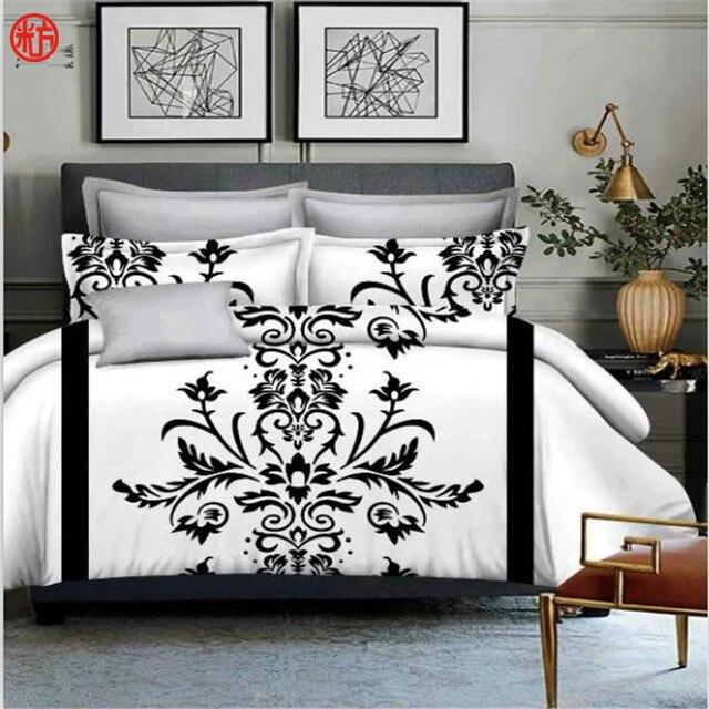 Fashion White And Black Flower Bedding Set 3pcssetone Duvet Cover