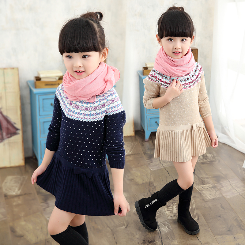 2018 Fall Winter Clothing New Girls Fashion Knitted Dress Baby Kid Vintage Print Sweater Dresses Children Jersey Knit Dress G347