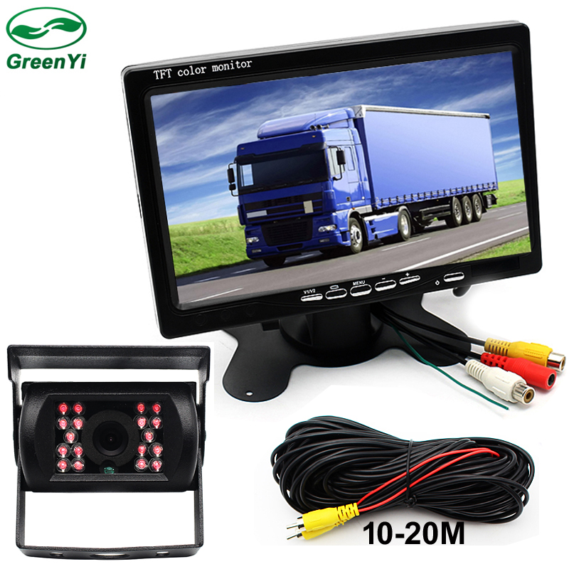 GreenYi DC 12 24V Truck Bus Parking Monitor Camera System 7 Car Monitor With Rear View