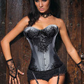 Sexy Lace up Boned Overbust Corset Bustier Top Waist Corsets And Bustiers Shaper Corsetlet Plus Size S-2XL