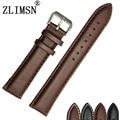 ZLIMSN 21mm (Buckle 18mm) Brown Dos Homens Suave Genuine Leather Pulseiras Strap Pulseiras Fivela de Aço Inoxidável Homem substituição