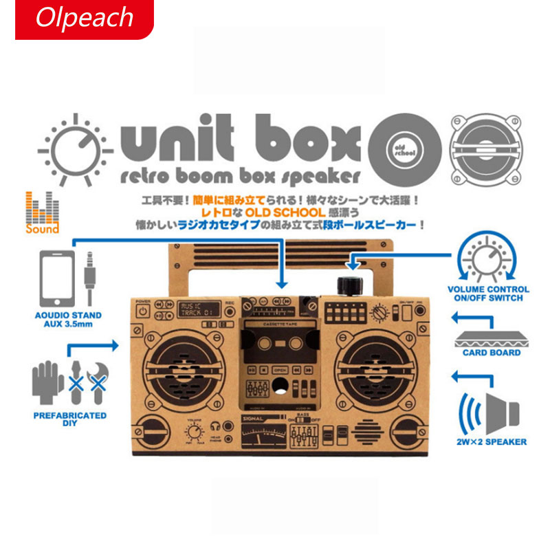 Olpeach folding carton speaker, DIY funny puzzle phone