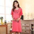 Кормящих одежда для беременных женщин по беременности и родам пижамы с коротким рукавом характер грудное вскармливание пижамы хлопок домашней одежды ночной рубашке