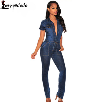 2016 Fashion Macacao Jeans Longo Rompers Dark Denim Button Down Jumpsuit Overalls Women Full Length Trousers rainbow bodysuit