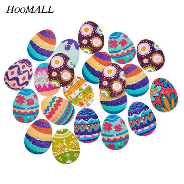 Hoomall Nuevo 50 Unids Mixta de Madera Botones Pintura de Huevos de Pascua 2 Agujero Cupieron la Costura DIY Scrapbooking