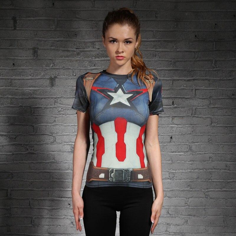 Compression T Shirt Women Superhero Captain America/Spiderman/Batman Tops Quick-drying Tight bodybuilding Wear Woman