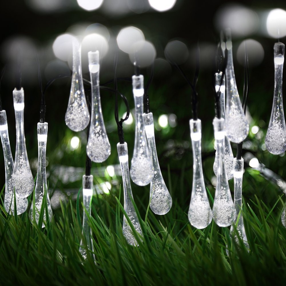 Solar Outdoor Christmas Lights.Us 13 25 50 Off Solar Outdoor String Lights Water Drop 20led Solar Powered Led String Garland Light Garden Christmas Lights Outdoor Fairy Lights In