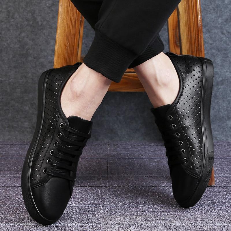 Calçados Macios Ao Respirável Mocassins Masculinos Livre Moda Confortáveis Ar Sapatos Black Couro Tênis De P4 Genuíno Homens Casuais cW8pPzAP4