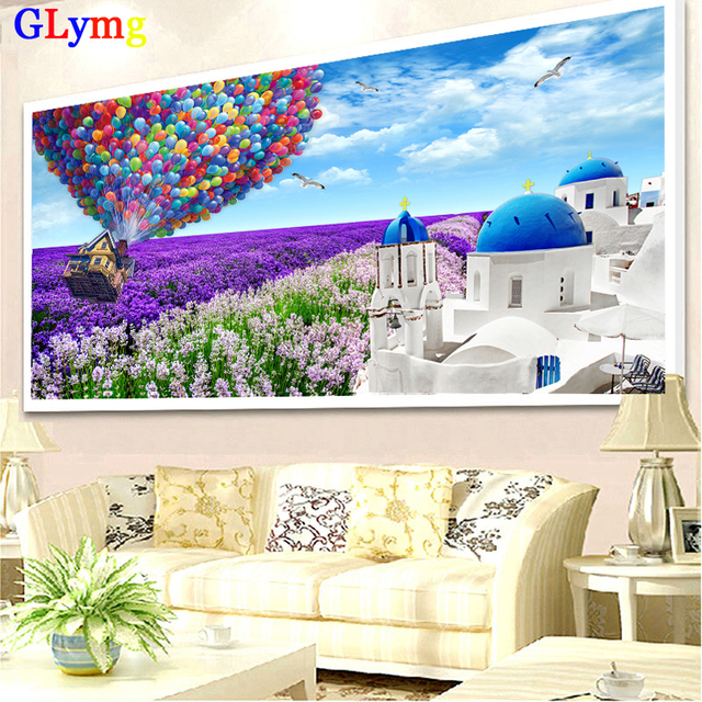 5D Diy  Diamond Painting Cross Stitch Purple Hot Air Balloon Diamond Embroidery White Castle Lavender Drill Rubik's Cube Drill