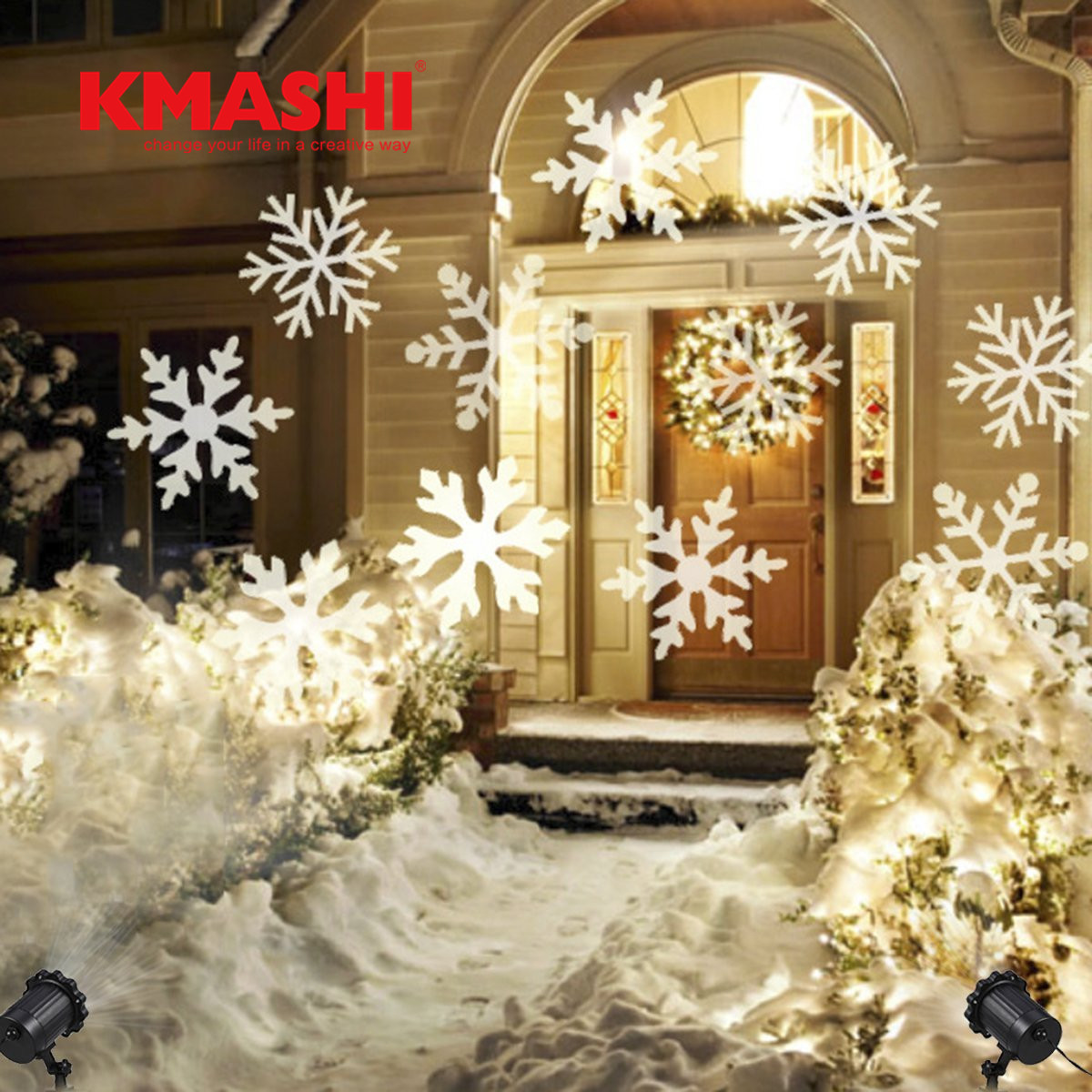 Kmashi IP65 Waterproof projector christmas lights RGB/White snow holiday lights outdoor lawn light free shipping free shipping 8pcs lot mini 6 3w rgb 3in1 waterproof remote control led par light christmas lights outdoor projector