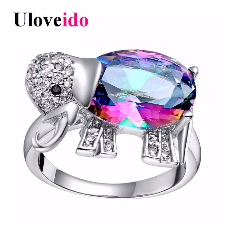 in uloveido rainbow purple jewelry sparkling costume ringen anime cz crystal for engagement stones from anillo elephant ring silver blue fashion cute red rings women woman item with color zircon
