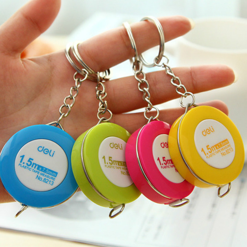 deli Miniature tape measure Candy Keychain 1.5 meter clothing measure tape small tape measure School office scale extension gift