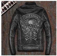 DHL,Free shipping.Brand mens skull leather Jackets,men faux fur top genuine Leather motor biker jacket.motorcycle homme.