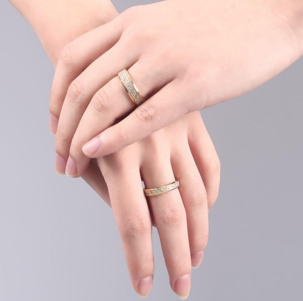 2pcs/lots Trendy Wedding Bands Ring for Lover Luxury Greek Key ...