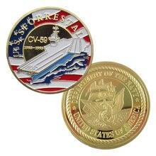 Соединенные Штаты ВМС США Forrestal(CV-59) позолоченная наградная монета/медаль 1031
