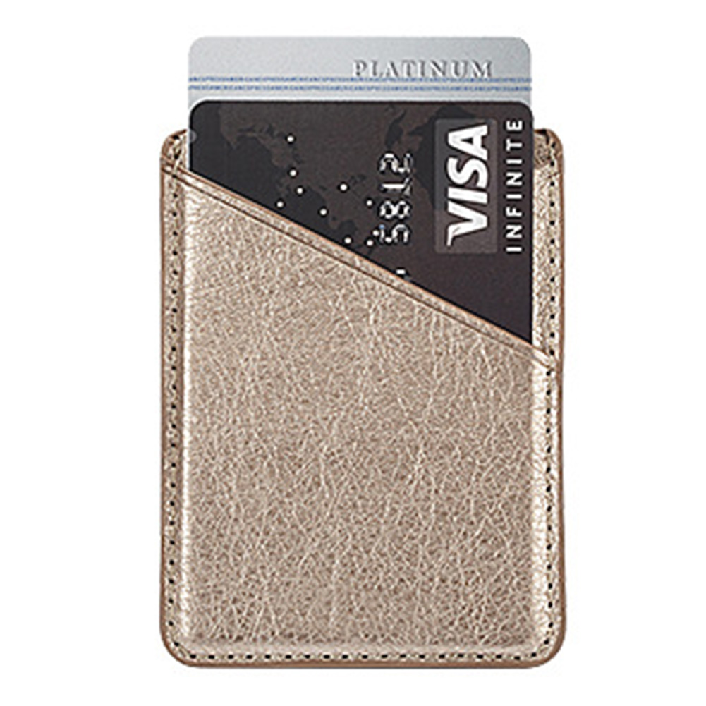 Solid Adhesive Pocket Universal Inserting Double-deck Mini Back Case Stick On Phone Card Holder Secure Leather Wallet