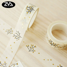 kawaii Gold wishing Tree Decorative Washi Tape DIY Scrapbooking Masking Tape School Office Supply Escolar Papelaria 2j202 1 5cm wide the puzzle world decorative washi tape diy scrapbooking masking tape school office supply escolar papelaria
