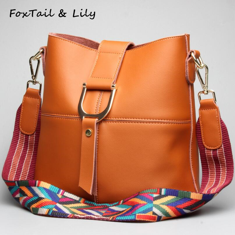 FoxTail & Lily Bucket Bags Handbags Women Genuine Leather Fashion Colorful Shoulder Strap Bag Ladies Messenger Bags High Quality qiaobao 100% genuine leather bags for women shoulder bag leather bucket ladies fashion handbags