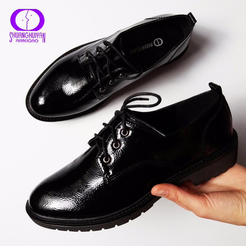 Image 3 - Flats British Style Oxford Shoes Women Spring Soft Leather Oxfords Flat Heel Casual Shoes Lace Up Womens Shoes Retro Brogues-in Women's Flats from Shoes