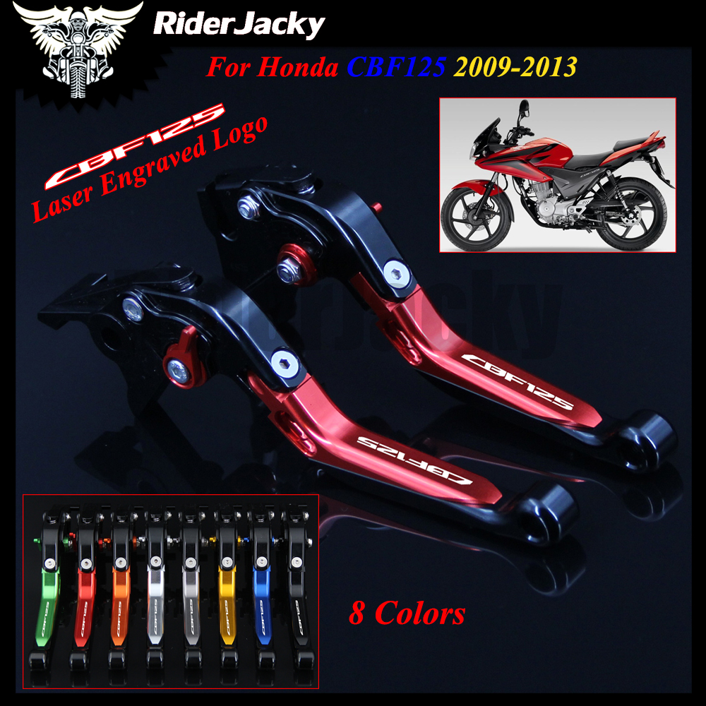 Red+Black Logo Motorcycle Accessories Folding Extendable Brake Clutch Levers For Honda CBF125 CBF 125 2009-2013 2010 2011 2012 for gilera gp 800 2007 2009 motorcycle accessories cnc aluminum folding extendable brake clutch levers black
