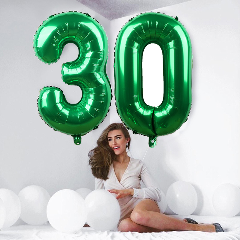1pc 32inch Green Foil Number Balloons New Helium Globo Baby Shower/Happy Birthday /Anniversary/Wedding Decoration Party Supplies