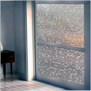 Image 4 - Film pour fenêtre givré en mosaïque, 60x200 cm, couleur arc en ciel, film pour verre statique opaque, feuille de transfert de chaleur en vinyle
