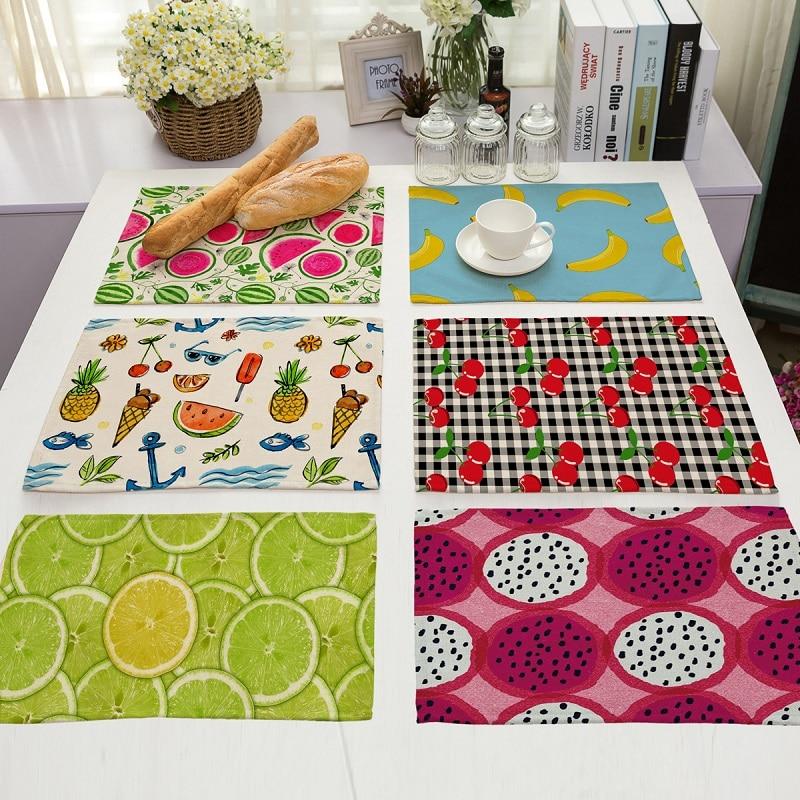 Creative Fruit Life 4 pieces Set Kitchen Table Mats Cotton Linen Table Napkin Fruit Pattern Decorative Placemats