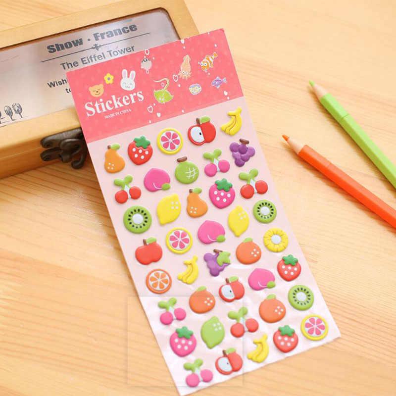 Pegatinas de burbuja hinchadas 3D Waterpoof DIY juguetes de bebé para niños niño niña pastel de cumpleaños fruta y gato pinup foto