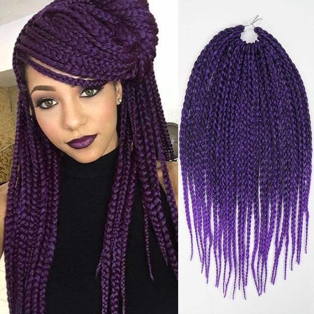 Purple Ombre Braiding Hair Synthetic Dreads Box Braids