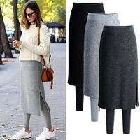 Warm Leggings Women Plus Size 6XL Autunm Winter Thick Pants with Fleece Velvet Fake Two Pieces Leggins Skirt Pants