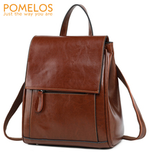 POMELOS Fashion Backpack Women Genuine Leather Girls Traveler Backpack Womens Back Pack Functional Backpack Bag Ladies Leather