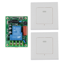 Wirelss Wall Remote 2PCS Transmitter Panel Sticky RF AC220V 30A Relay Remote Control Switch For Living Room Lights ON OFF