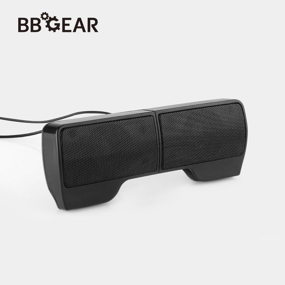 BBGear Mini USB Stereo Speaker Portable Soundbar Clip-on Soundbar Speakers 1 Pair Laptop Music Player for Notebook Laptop Phone