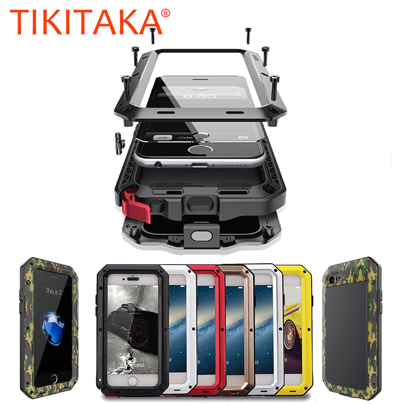 Metal Armor Outdoor Shockproof Aluminum Case For iPhone X 7 6 6s Plus 5 5s SE Cover Waterproof Phone Cases + Screen FilmMetal Armor Outdoor Shockproof Aluminum Case For iPhone X 7 6 6s Plus 5 5s SE Cover Waterproof Phone Cases + Screen Film