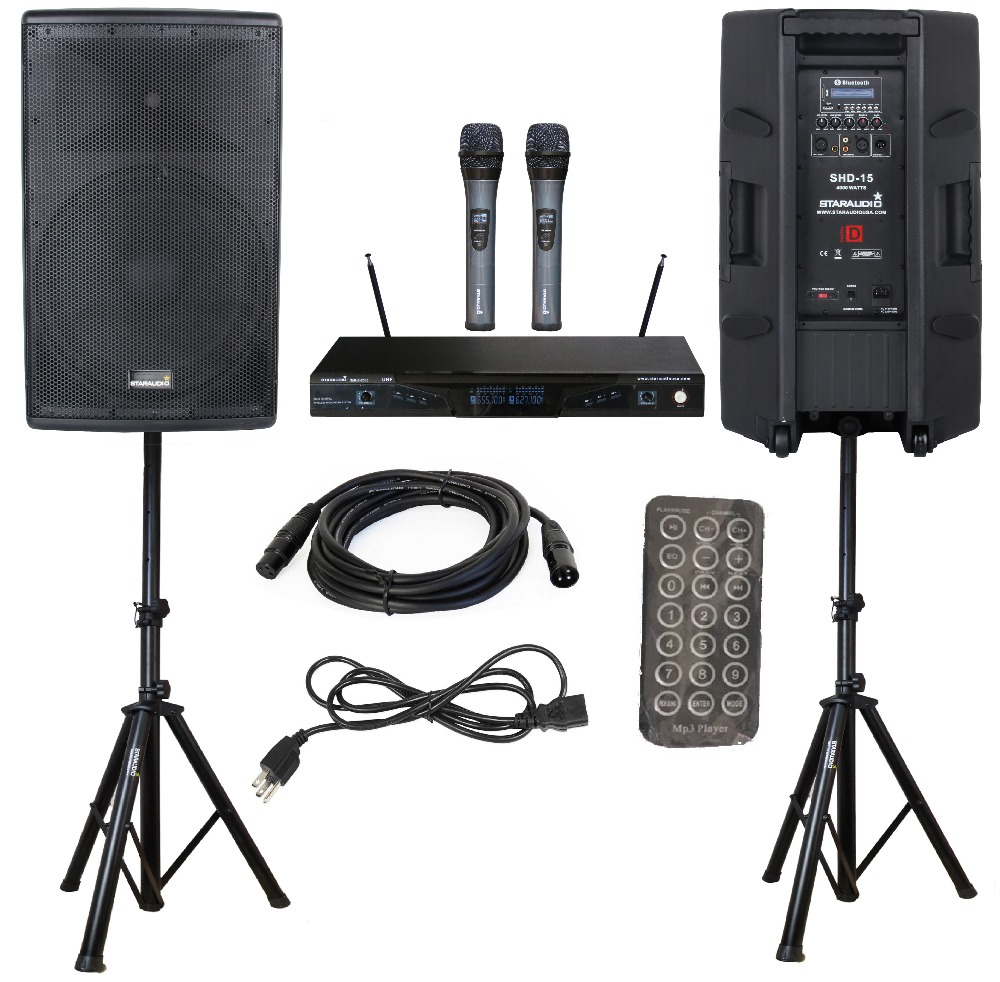STARAUDIO 2Pcs 15 4000W PA DJ Active Powered Stage Audio Karaoke USB BT SD FM Speakers W/ Stands Cable 2CH UHF Mics SHD-15