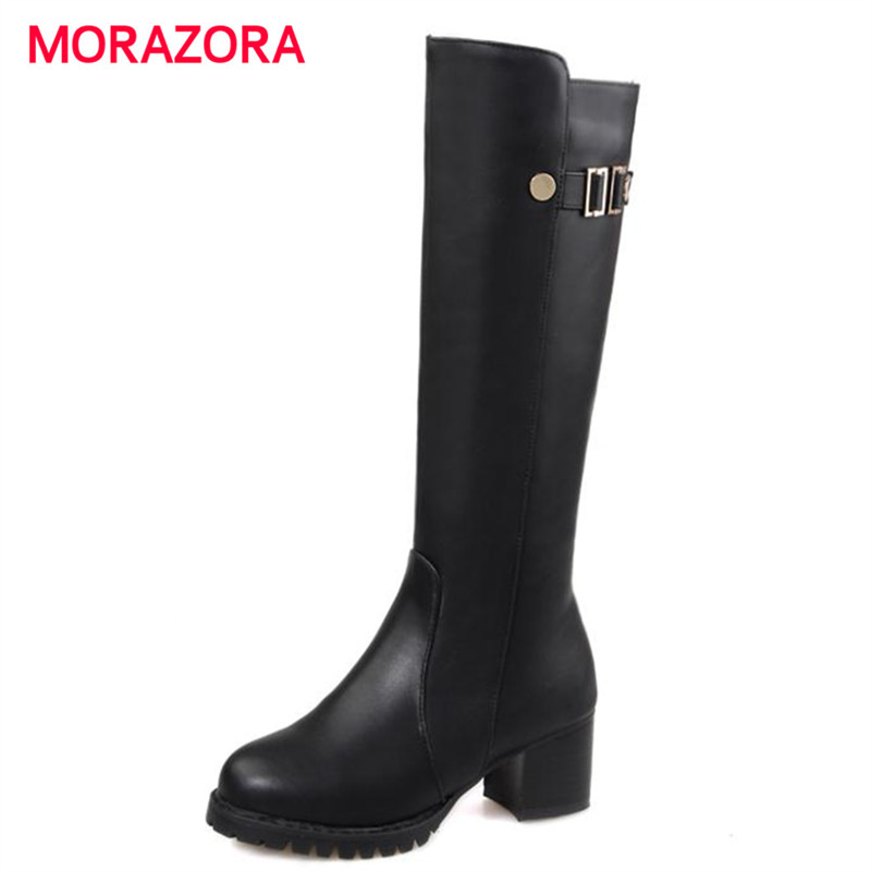 MORAZORA Simple fashion women boots PU soft leather round toe knee high boots square heel buckle zip solid large size 34-43 fashion women half knee high boots solid buckle metal round toe platform wedge shoes 3 colors large size 34 43