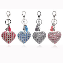 Fashion Heart Pendant Keychain Women Casual Pu Leather Tassel Snow Flower Keychain Bag Car Key Chain Ring Holder Trendy Jewelry(China)