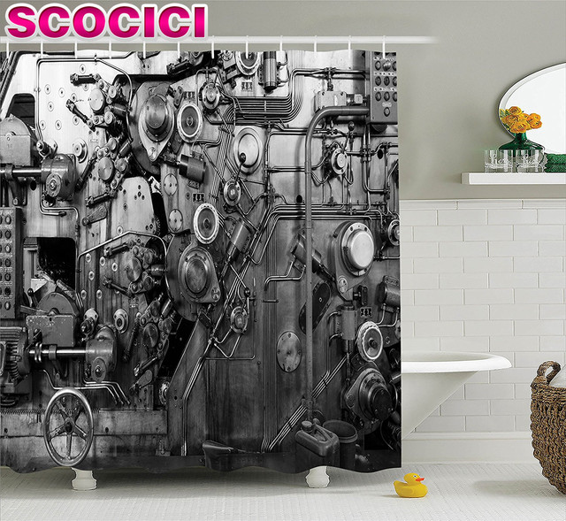 industrial decor shower curtain set modern times detail of rusted machine in factory physical equipment and