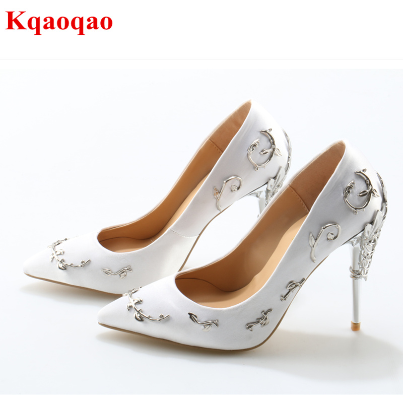 Satin Filigree Leaves Stiletto High Heels Pointed Toe Women Pumps Slip On Embellished Vines Party Wedding Shoes Woman Brand Shoe satin metal leaves embellished women pumps pointed toe shallow thin high heel party dress stiletto wedding party runway shoes