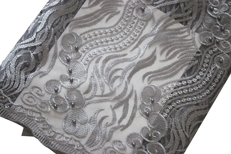 Ourwin liquidation vente Tulle Net dentelle tissu avec perles Aqua africain dentelle tissu de haute qualité Guipure dentelle tissus Orange - 6