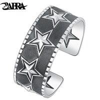 Zabra реального Чистая стерлингового серебра 925 26 мм пятиконечная звезда Открыть манжеты браслет для большие мужские Винтаж панк рок мужские