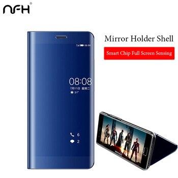 Espejo caso DE Honor Y9 Y6 Y7 Y5 2018 7A Pro 7C 8 9 lite Smart PC soporte cubre para Huawei P20 P10 mate 10 Pro caso Y7
